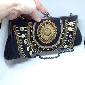 vintage black canvas golden trim evening clutch